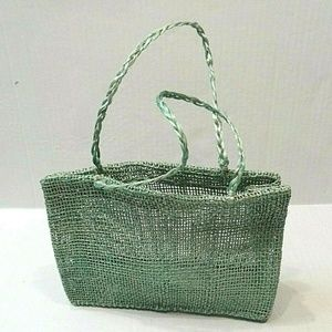 "Other - Woven Raffia Jute Tote 11"" Shaped Bag Decor"